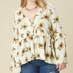 1X 2X A'BEAUTIFUL SOUL SUNFLOWER BOHO TUNIC top